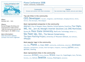 EventVue page for Plone 2008 conference
