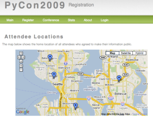 Map of PyCon attendees